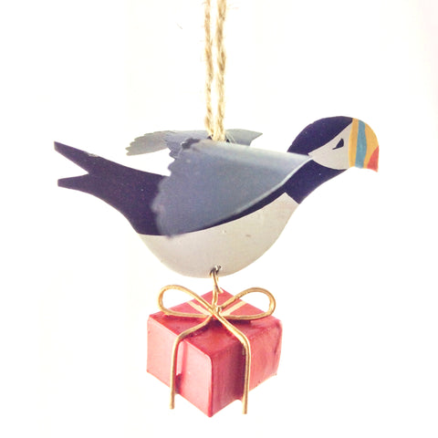 Flying Puffin With a Gift: Hanging Christmas Decoration | Happy Piranha