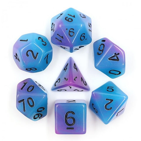 Blue and purple glow in the dark D20 dice set | Happy Piranha