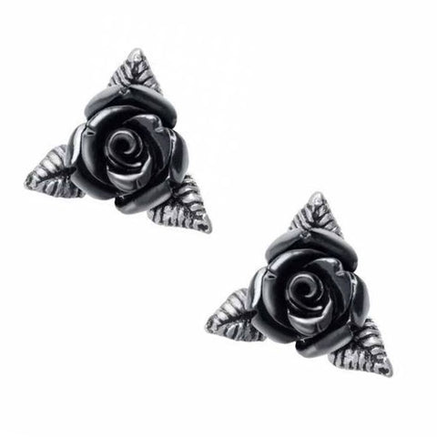 Ring O' Roses: Black Rose Stud Earrings | Happy Piranha