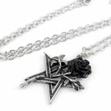 Ruah Vered: Pentagram and Black Rose Pewter Pendant and Chain | Happy Piranha
