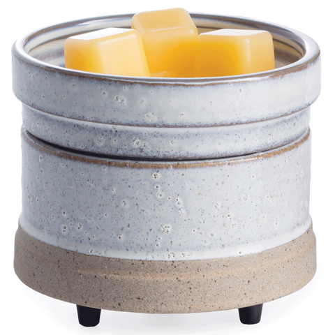 Rustic White: 2-in-1 Electric Wax Melt and Candle Warmer | Happy Piranha