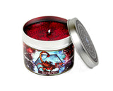 Scorpio zodiac scented candle with lid off and red glitter.