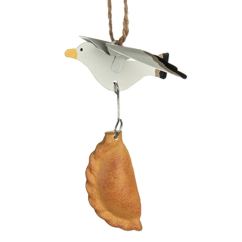 Seagull Stealing Pasty Hanging Ornament | Happy Piranha