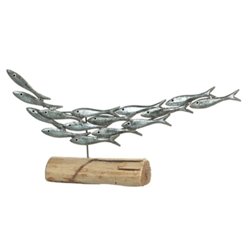 Silver Sardine Shoal Metal and Wood Fish Ornament | Happy Piranha