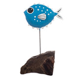 Single Pufferfish Metal Ornament (Dark Blue) | Happy Piranha
