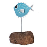Single Pufferfish Metal Ornament (Light Blue) | Happy Piranha