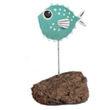 Single Pufferfish Metal Ornament (Teal) | Happy Piranha