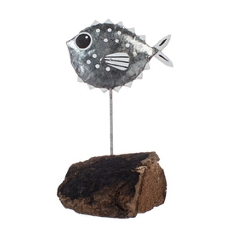 Single Pufferfish Metal Ornament (Silver) | Happy Piranha