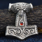 Skane Hammer: Tho'rs Hammer Pewter Viking Pendant (Red Glass  Bead) | Happy Piranha