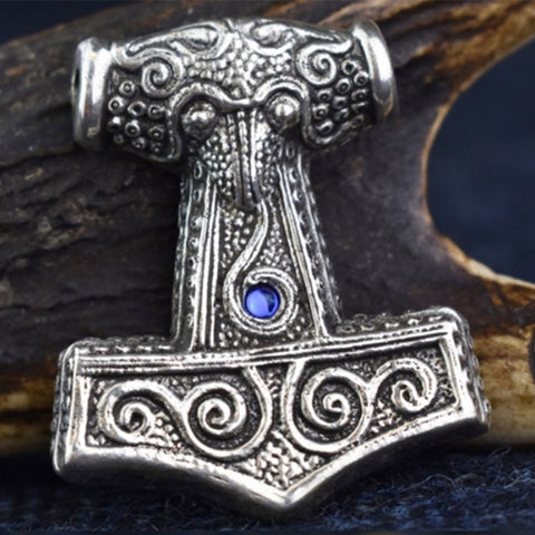 Skane Hammer: Tho'rs Hammer Pewter Viking Pendant (Blue Glass  Bead) | Happy Piranha