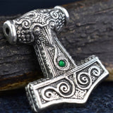 Skane Hammer: Tho'rs Hammer Pewter Viking Pendant (Green Glass  Bead) | Happy Piranha