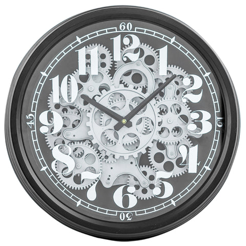 Small Black and Silver Moving Cogs Wall Clock (36 cm) | Happy Piranha