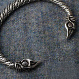 Odin's Ravens: Small Pewter Viking Bracelet Close Up View  | Happy Piranha