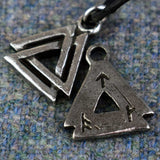 Small Valknut Pewter Viking Pendant Front and Back Design | Happy Piranha