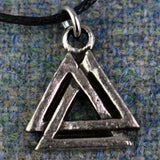 Small Valknut Pewter Viking Pendant Closeup | Happy Piranha