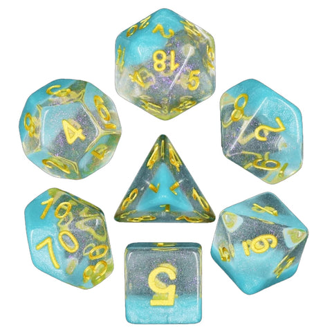 Snow Globe Poly Dice Sets - Winter's Grasp (Light Blue) | Happy Piranha