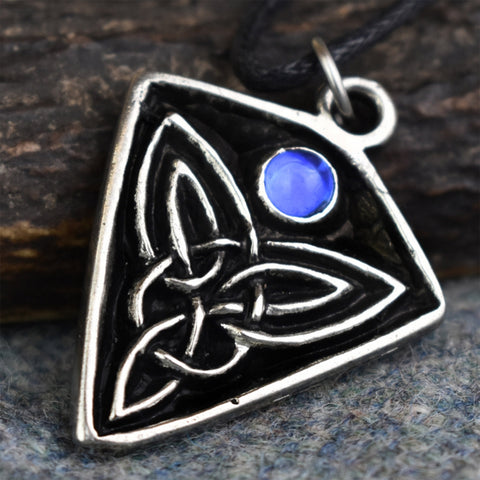 St Ninian's Knot: Pewter Celtic Design Pendant (Blue Stone) | Happy Piranha