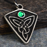 St Ninian's Knot: Pewter Celtic Design Pendant (Green Stone) | Happy Piranha