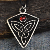 St Ninian's Knot: Pewter Celtic Design Pendant (Red Stone) | Happy Piranha