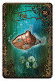 Steampunk Tea Leaf Fortune Telling Cards  Fish Card | Happy Piranha