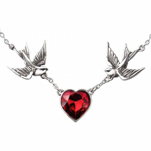 Swallow Heart: Pewter and Swarovski Crystal Pendant | Happy Piranha