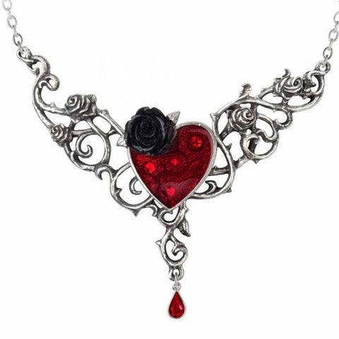 The Blood Rose Heart Pewter and Swarovski Crystal  Necklace | Happy Piranha
