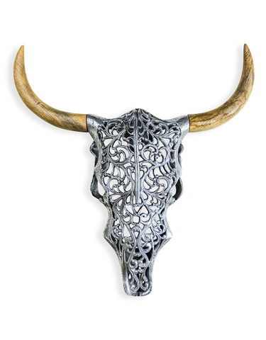 Aluminium and Wood Tribal Bison Skull Wall Art | Happy Piranha