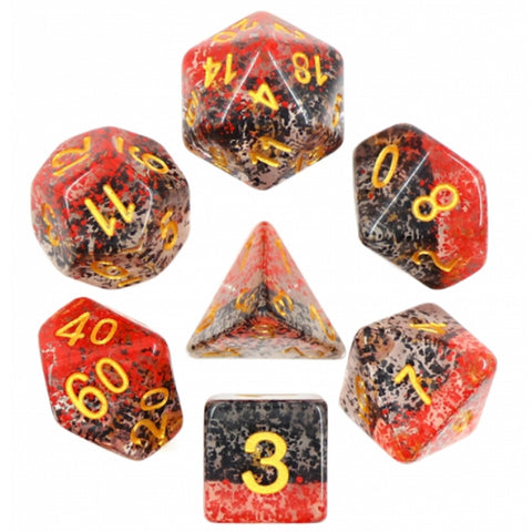 Blood & Ink Poly Dice Set - Vampiric Dawn (Black and Red Droplets) | Happy Piranha
