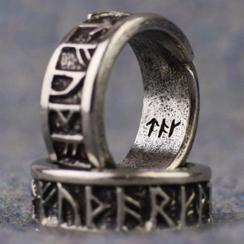 Viking Rune Ring: Adjustable Pewter Ring | Happy Piranha