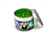 Virgo zodiac horoscope scented candle with lid off and green wax.