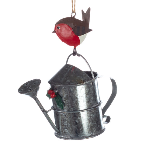 Robin on a Watering Can Hanging Christmas Decoration | Happy Piranha