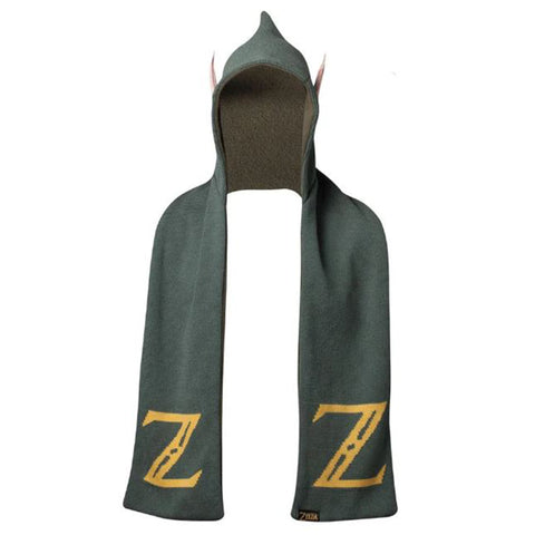 Legend of Zelda Green Hooded Elf Ear Scarf | Happy Piranha