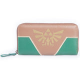 Green and Brown Zelda Triforce Zip Around Nintendo Clutch Purse | Happy Piranha