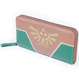 Green and Brown Zelda Triforce Zip Around Nintendo Clutch Purse Front Design | Happy Piranha