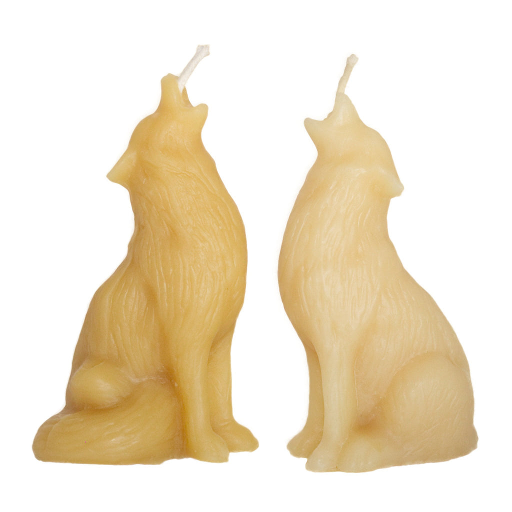 Beeswax candle wolves ornamental