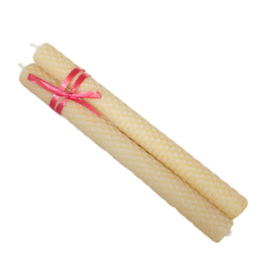 Beeswax Hand Rolled Candles - Tapered Pair
