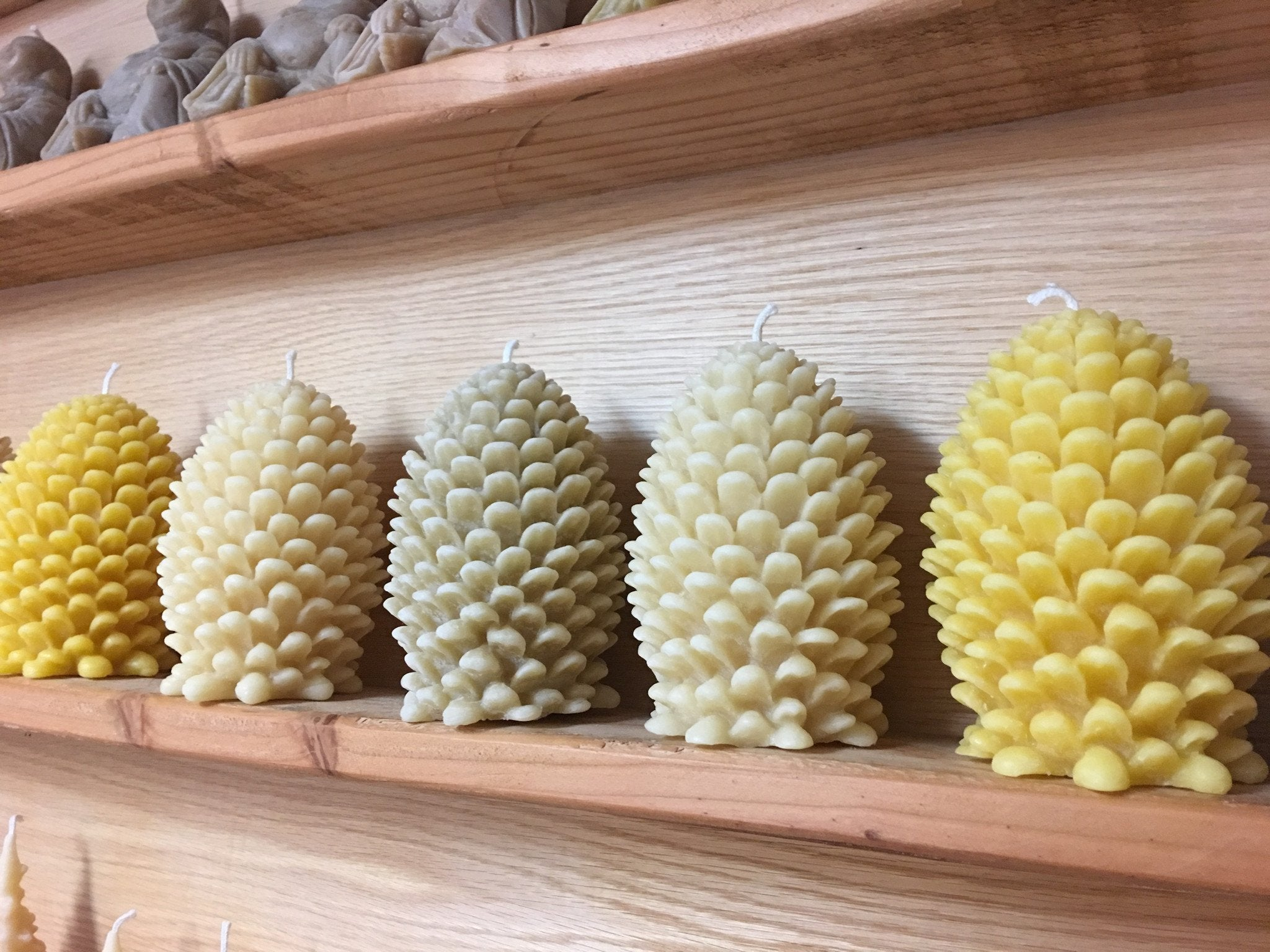 Beeswax candle pinecone ornamental