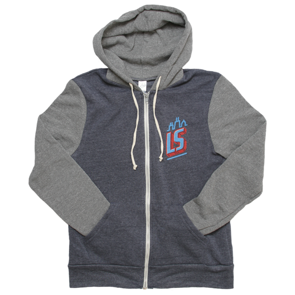 Navy and Grey Zip-Up Hoodie