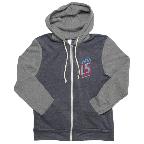 Hoodie - Navy/Grey Zip-Up