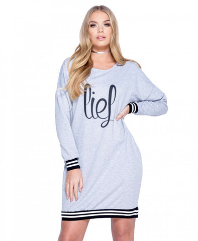 Lies Print Sweatshirt Jumper Dress - GREY