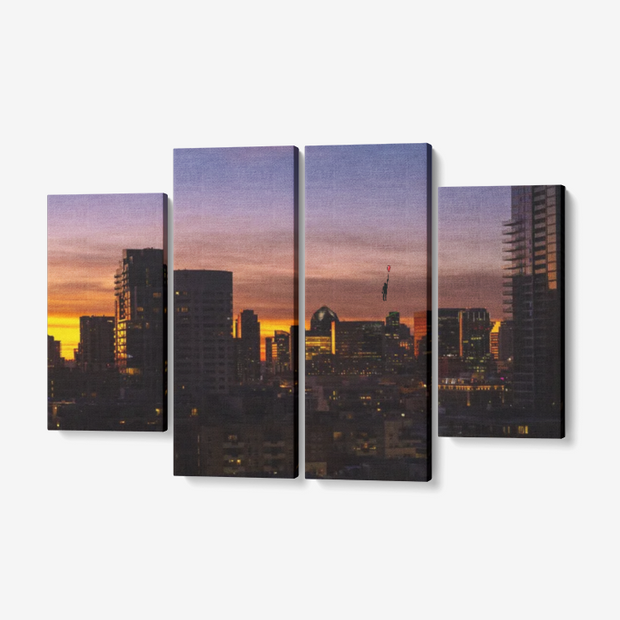 "Sunset 2 4 Piece Canvas Wall Art for Living Room - Framed Ready to Hang 4x12""x32 freeshipping - Lonely Floater"