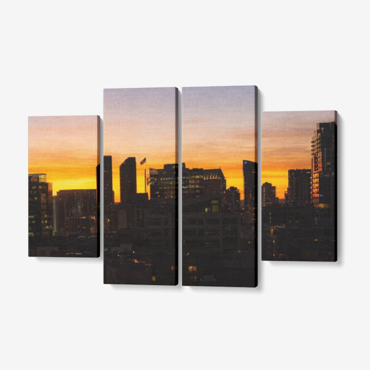"Sunset One 4 Piece Canvas Wall Art for Living Room - Framed Ready to Hang 4x12""x32"