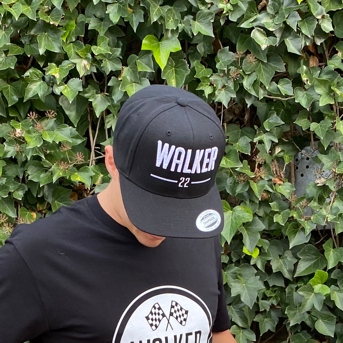 WALKER22 Black Flatpeak Cap