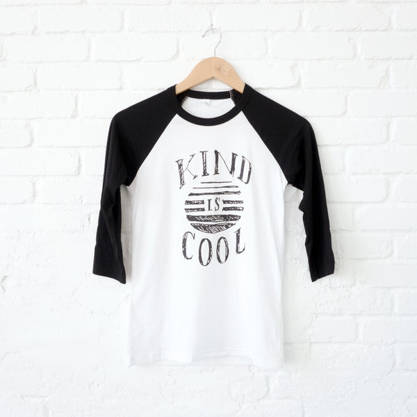 """Kind is Cool"" Youth Baseball Tee"