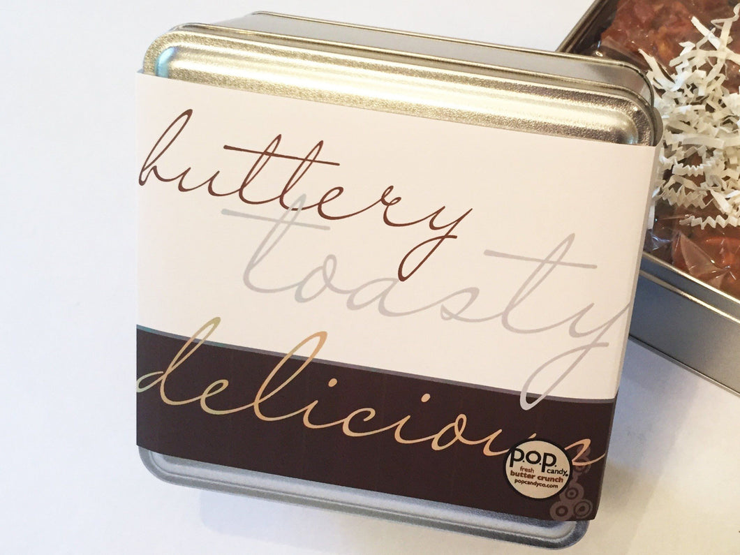 custom butter crunch gift tin (1 or 2 flavors)<p> (1 lb. | $41)