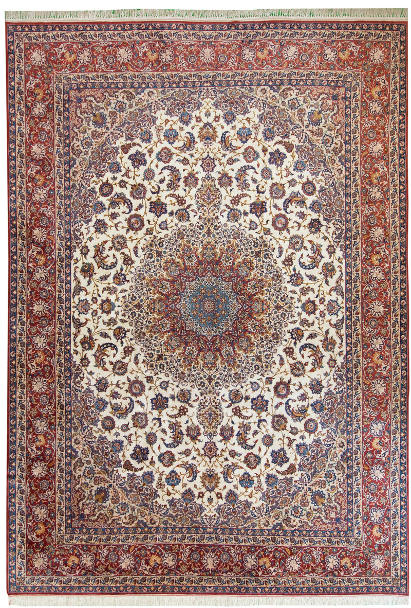 Antique Isfahan Ivory 10x14
