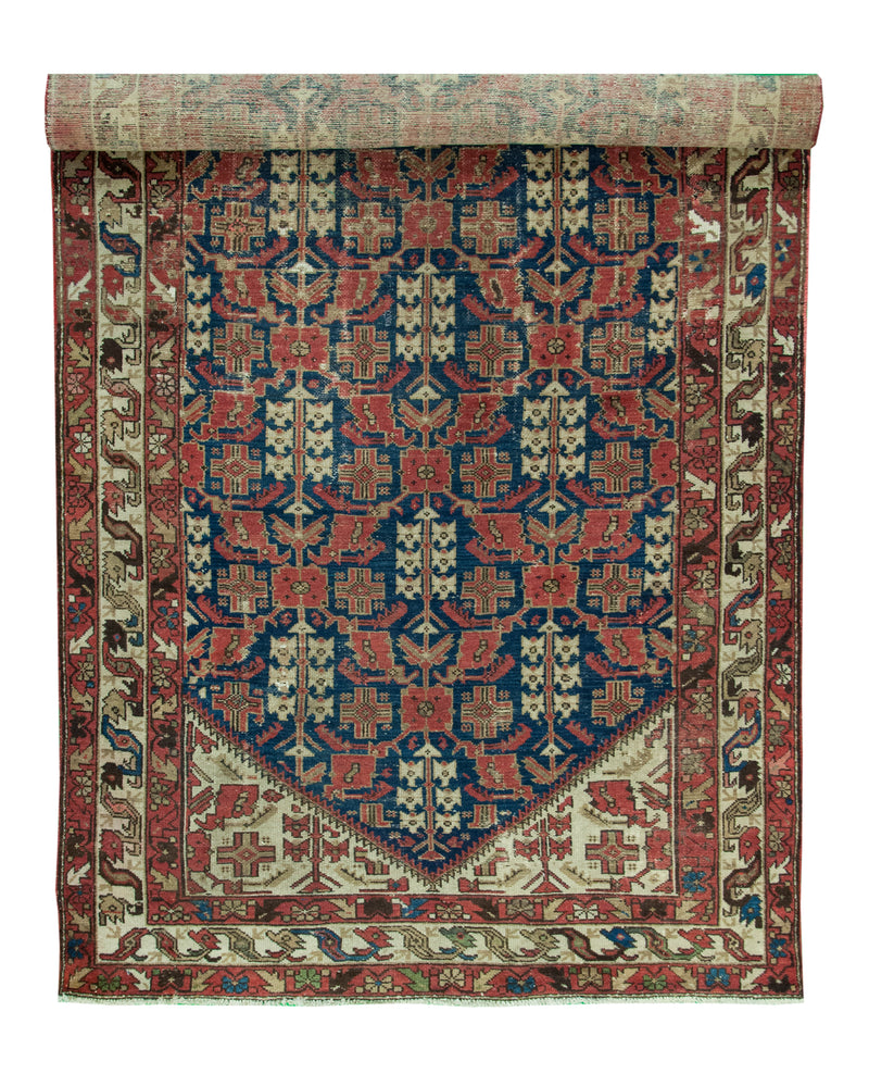 Antique Malayer Runner Navy 5x11'9