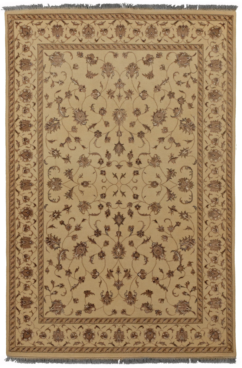 Indo Collection- Kashan Ivory 4 x 6