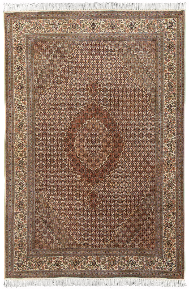 Persian Tabriz - Fish Ivory 7x10