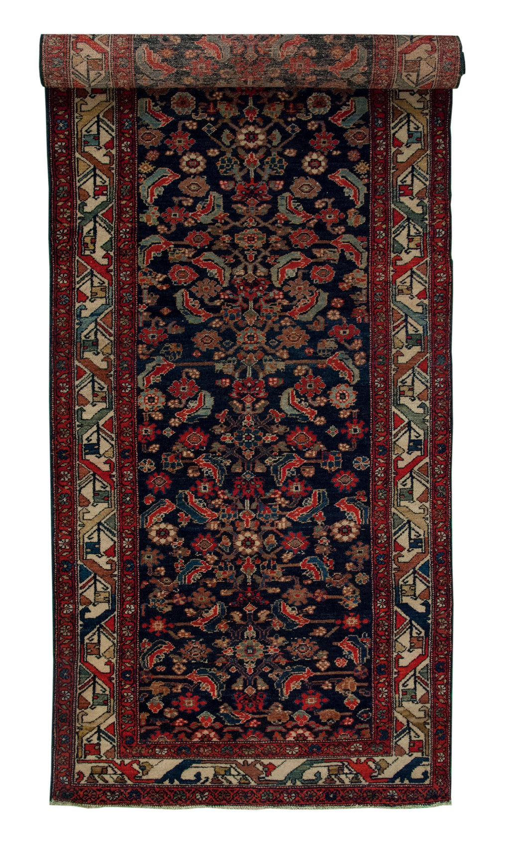 Antique Malayer Runner Navy 3'1x11'9